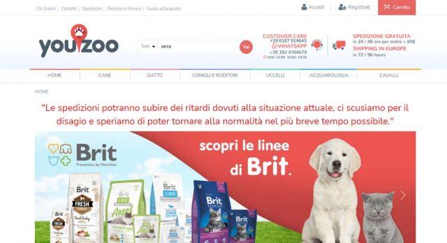 Schermata per il sito YouZoo Store